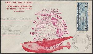 GILBERT & ELLICE IS US PO 1940 first flight cover Canton Is to Honolulu....55585