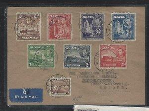 MALTA  (PP2708B) 1946  KGVI  8 DIFF VALUES ON REG COVER TO CZECHOSLOVAKIA