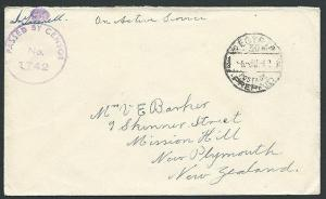 EGYPT NEW ZEALAND FORCES 1942 OAS censor cover to NZ.......................42870