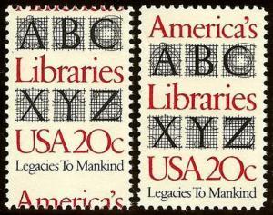 2015 Misperf Error / EFO Design Change America's Libraries Mint NH