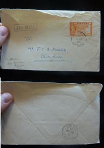 Sarawak KGVI 10c on 1955 cover, see cancel, Brunei B/S (8bey)