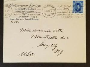 1926 Alexandria Egypt to New Jersey City USA SS Republic Cruise Commercial Cover