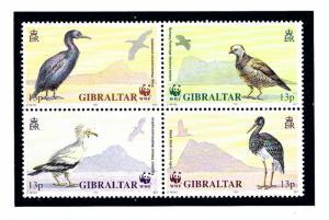 Gibraltar 594a MNH 1991 Birds block of 4