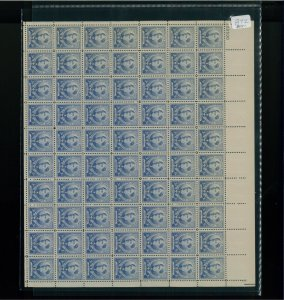 1940 United States Postage Stamp #872 Plate No. 22530 Mint Full Sheet