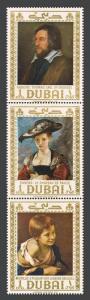 Dubai 292-294 strip Michel,MNH. Portraits by Francisco Lose de Goya,1967.