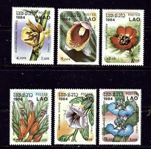 Laos 554-60 MNH 1984 Flowers