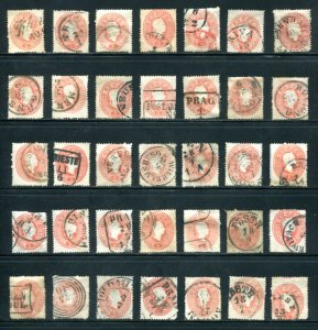 x284 - Collection AUSTRIA Lot of (35) Scott# 14 - Used - Shades, Postmarks etc