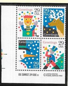 US#2794a $0.29 Christmas ZIP,Copyright bock (MNH) CV$2.50