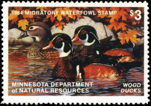 MINNESOTA #8 1984 STATE DUCK STAMP PRINT WOOD DUCKS  by Thomas Gross List $175