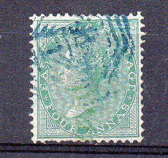 India/ qv sg no 47 4as green no w/m very fine used hcv cv 6500/-
