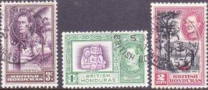 BRITISH HONDURAS 1938KGVI 1c, 2c & 3c Definitives SG150-152Used