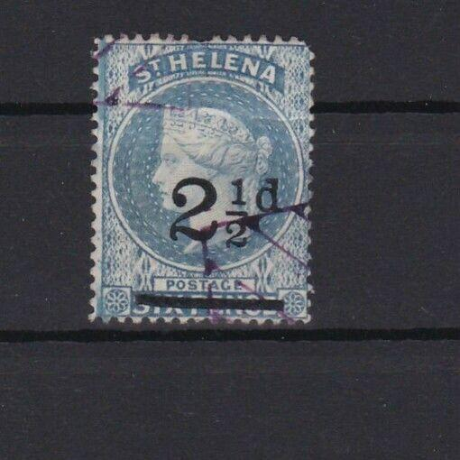 ST HELENA VARIETY 2½ d SURCHARGE WITH BENT BAR AND LARGE DOUBLE LINE C W/MARK