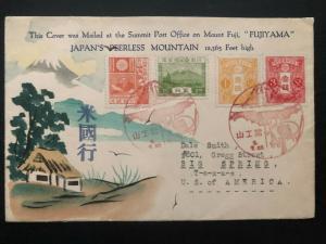 1934 Mt Fuji Post office Fujiyama Japan Karl Lewis Cover To Big Spring TX USA