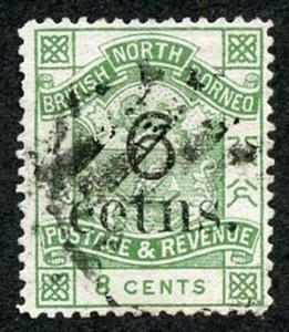 North Borneo SG55c 1891 6c on 8c Variety cetns for cents