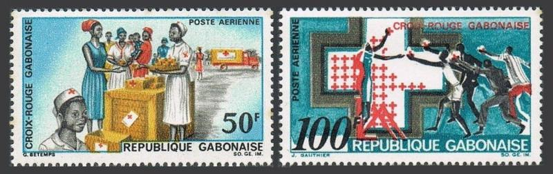 Gabon C68-C69,MNH Michel 306-307. Support for Red Cross 1968.