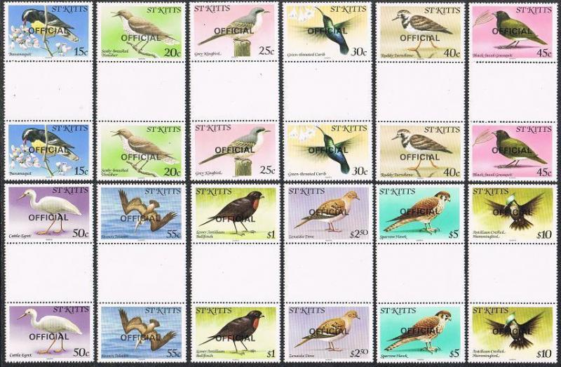St Kitts O11-O22 Officiel Gutter, MNH Oiseaux 1981.Caribs, Banana-Quit, Thrasher