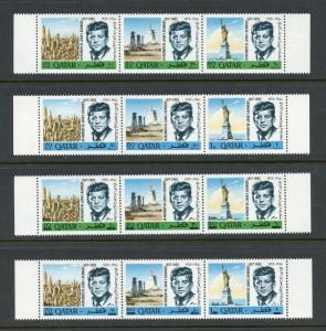 QATAR JOHN F. KENNEDY  MEMORIAL SET & S/S PLUS REVALUES  MINT NEVER HINGED