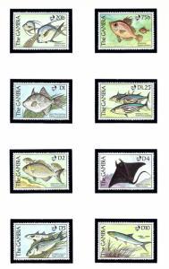 Gambia 887-94 MNH 1989 Fish