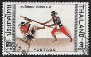 THAILAND Scott 463 Used Thai Cudgel Play stamp 1966 Asian Games