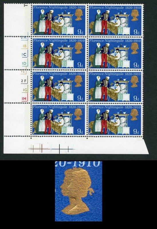 SG820 1970 9d Anniversaries with Gold Shift Error Cyl Block of 8 U/M