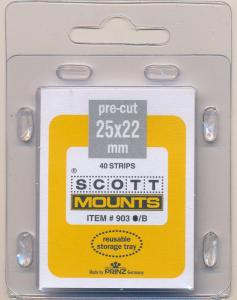 Prinz Scott Stamp Mounts Size 25/22 mm BLACK (Pack of 40) (25x22  25 mm) PRECUT