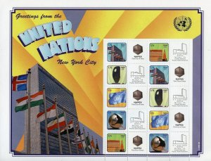 UNITED NATIONS 2009 GREETINGS FROM THE UN  PERSONALIZED 98c NAPEX SHEET MINT NH