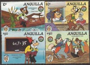 Anguilla - 1985 Disney Christmas Huckleberry Finn - 4 Stamp Set - Scott #653-5