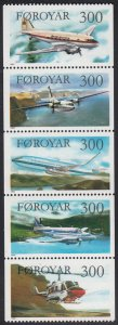 Faroe Islands 1985 MNH Sc #138a Passenger Airplanes and Helicopters Pane of 5