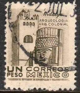 MEXICO 882b, $1Peso 1950 Definitive 2nd Printing wmk 300. USED. F-VF. (1411)