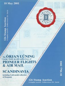 Orjan Luning Collection of Pioneer Flights & Airmail, Corinphia, May 18, 2001