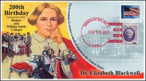 21-020, 2021,Elizabeth Blackwell, Event Cover, Local Postmark, 200th Birthday,