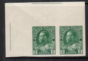 Canada #137 Extra Fine Never Hinged UL Margin Imperf Pair With Cutting Lines