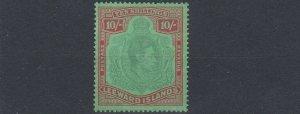 LEEWARD ISLANDS  1938-51  SG 113A 10/- PALE GREEN & DULL RED GREEN  MH CAT £850