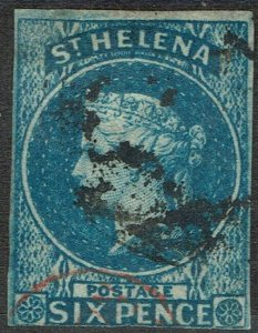 ST HELENA 1856 QV 6D IMPERF USED