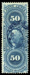 B472 U.S. Revenue Scott R55c 50c Entry of Goods, blue 1870 handstamp cancel