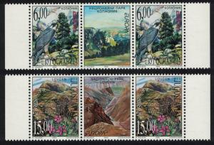 Yugoslavia Birds Peregrine Falcon Flowers Mountains Europa CEPT 2v Pairs with