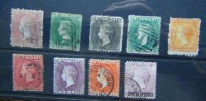 St Vincent QV range values to 1s Orange 1881 3d on 1d Mauve etc Used