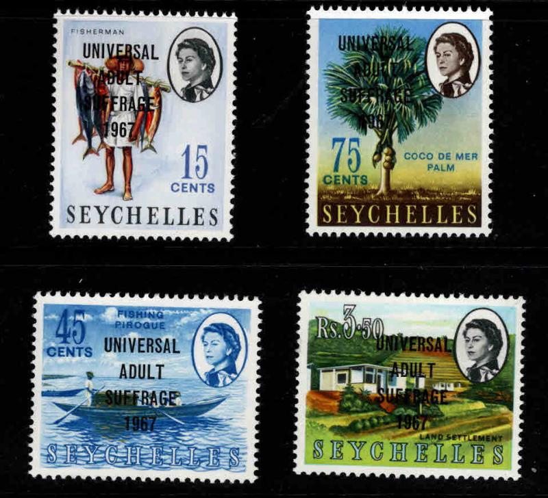 Seychelles Scott 233-236 MNH** suffrage overprint stamp set