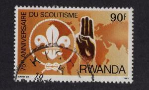 Rwanda  #1129  used  1983    scouting 90fr