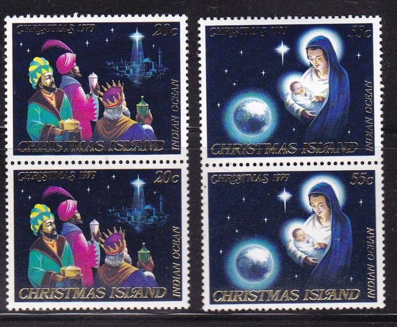 Christmas Island 1979 Christmas issue in Pairs  VF/NH