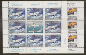 Yugoslavia 2002 Civil Aviation Sheetlets Cat£368