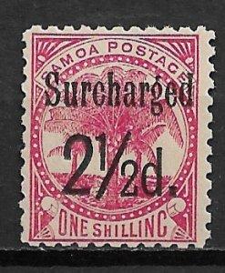 1898 Samoa 26  21p on 1sh rose surcharge MH