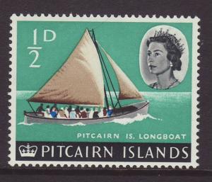 1964 Pitcairn Is ½d Longboat Mint