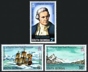 South Georgia 41-43, MNH.Captain Cook's discovery of South Georgia, bicent. 1975