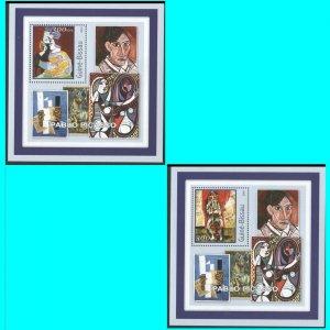 Art Picasso Guinea Bissau 2001 2 souvenir sheets unlisted Michel U/nusual