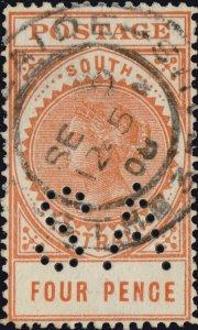 SOUTH AUSTRALIA - 1908 SG299 4d orange-red perfin SA - VFU ADELAIDE / STH-3-AUS