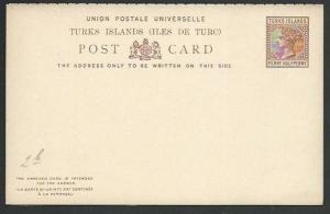 TURKS IS QV 1½d postcard + 1½d reply - fine unused........................61396