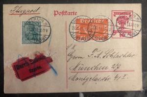 1919 Berlin Germany Early Airmail Postcard Cover To Munich