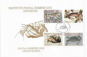 DOMINICAN REPUBLIC 2009 CRUSTACEANS CRABS FAUNA 4 VALUES ON FDC