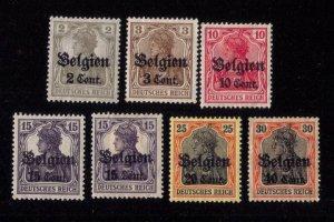 German Occupation Belgium Scott #N10-N19 Not A Complete Set (1916) MH ,OG VF